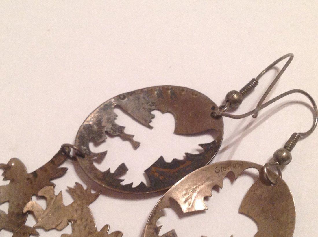 Estate native large sterling dangle earrings (S) - 3