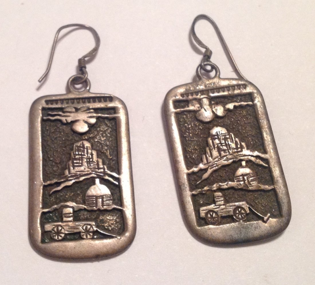 Estate native overlay hopi sterling dangle earrings (S)