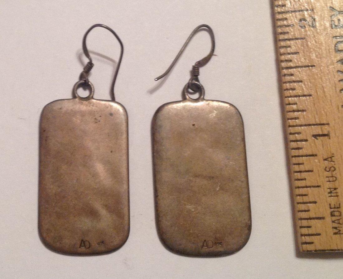 Estate native overlay hopi sterling dangle earrings (S) - 2