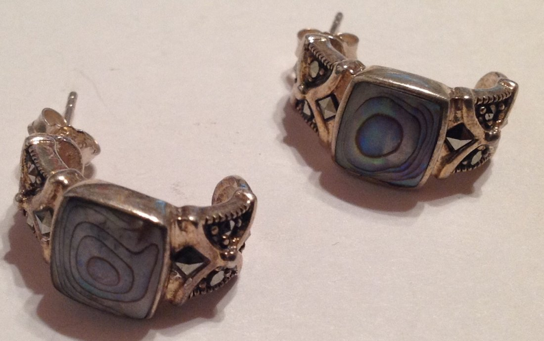 Estate vintage FAS Sterling abalone earrings (S)