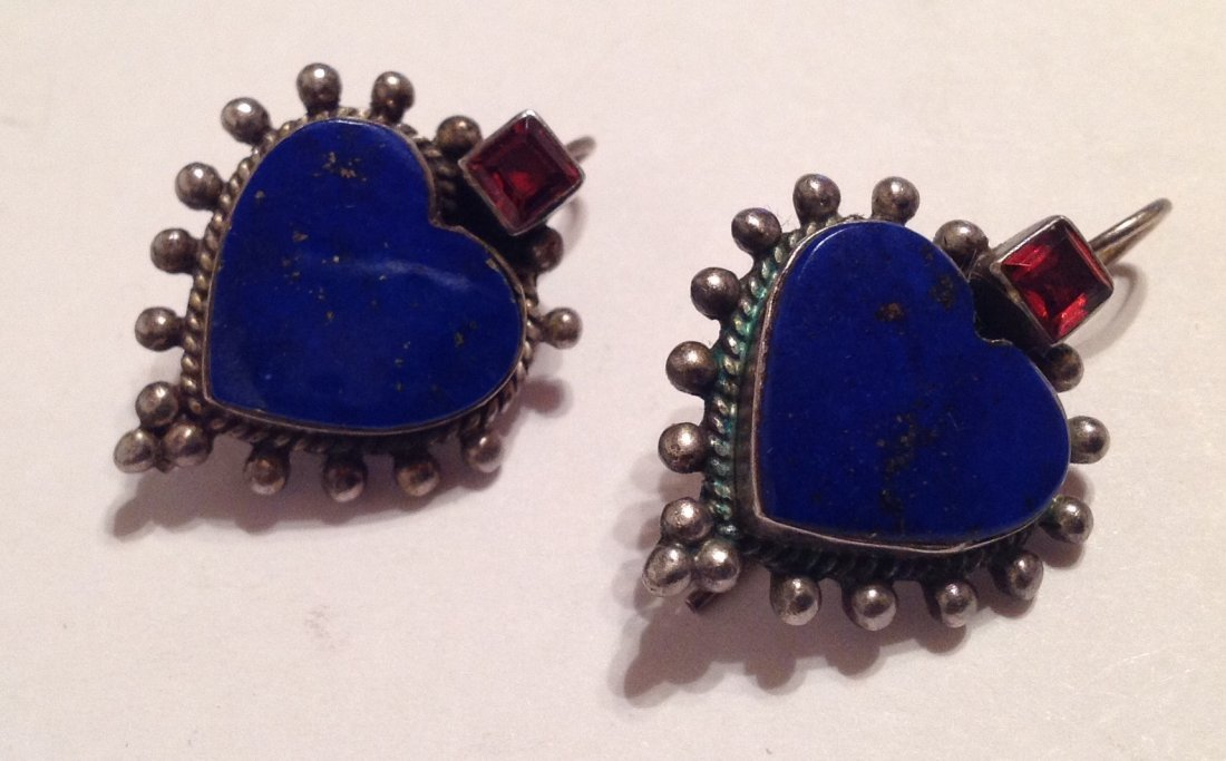 Estate vintage Sterling lapis lazuli heart earrings (S)