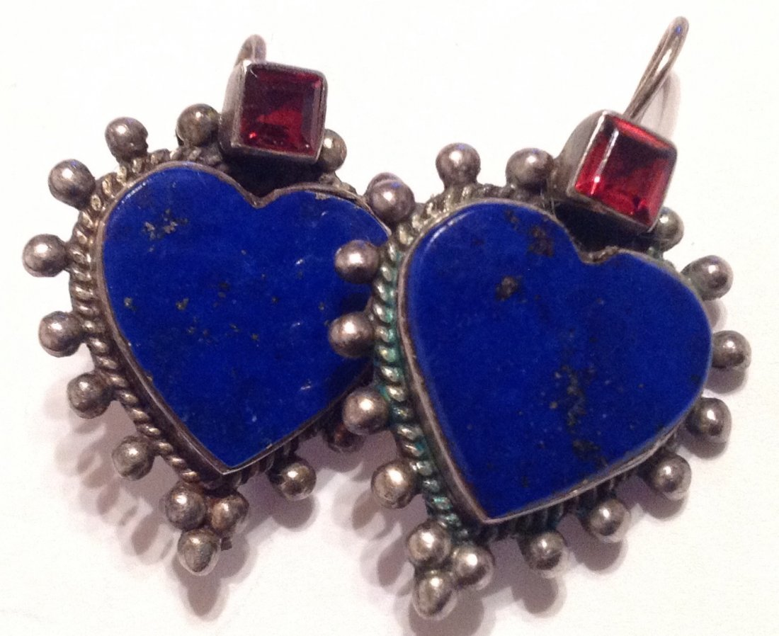 Estate vintage Sterling lapis lazuli heart earrings (S) - 2