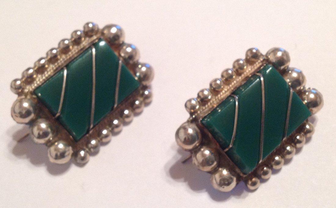Estate vintage Sterling green onyx panel earrings (S)