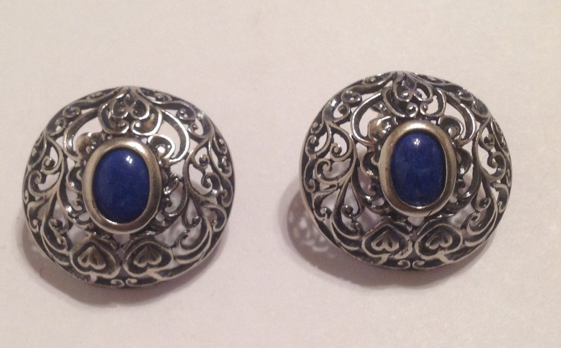 Estate vintage Sterling lapis scrollEd earrings (S)