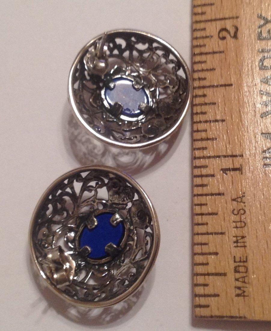 Estate vintage Sterling lapis scrollEd earrings (S) - 2