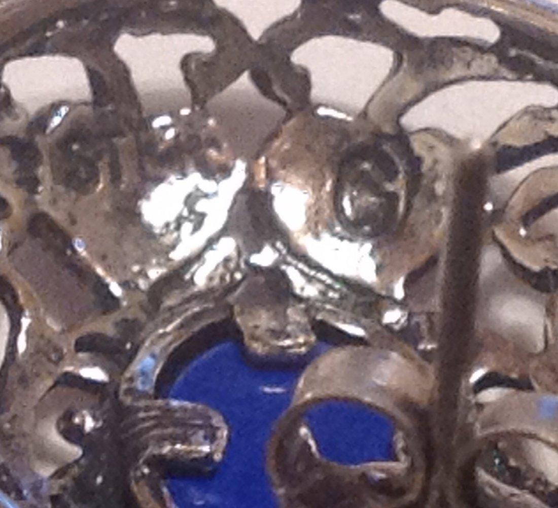 Estate vintage Sterling lapis scrollEd earrings (S) - 3