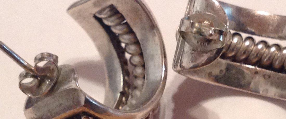 Estate Native American Sterling silver earrings (S) - 3