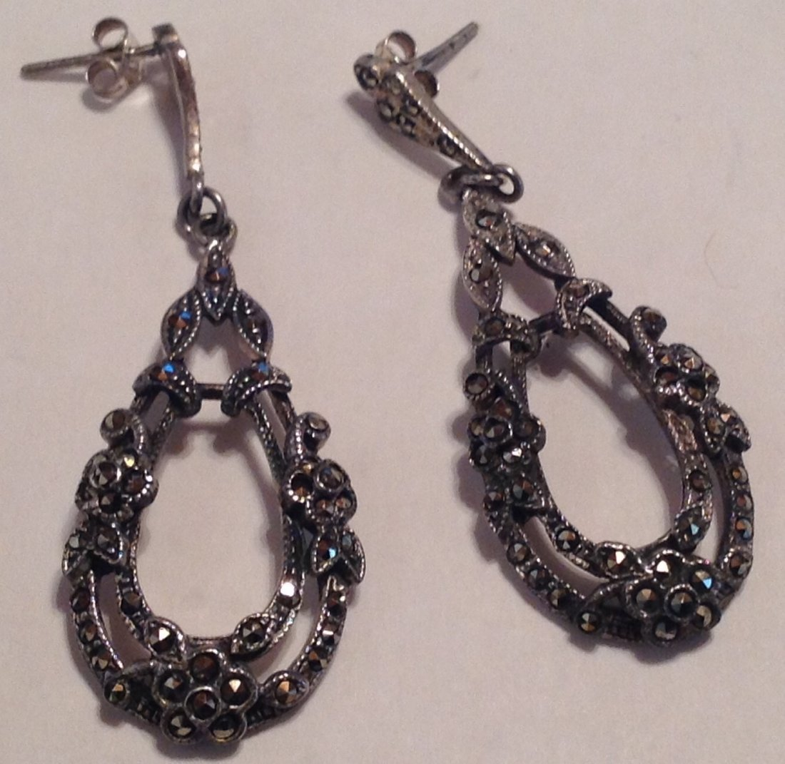 Estate Sterling silver large marcasite earrings (S)