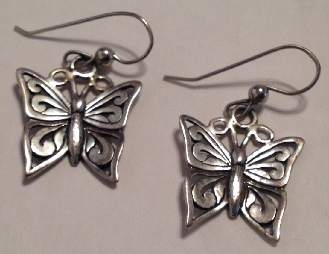 Estate Sterling silver butterfly earrings (S)
