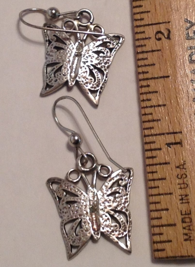 Estate Sterling silver butterfly earrings (S) - 2