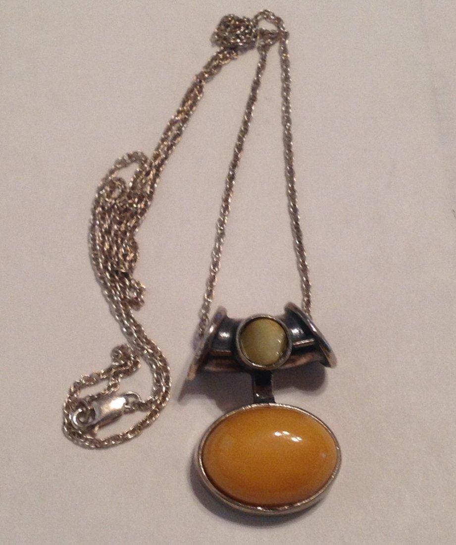Estate Sterling gemstone slider pendant necklace  (S)