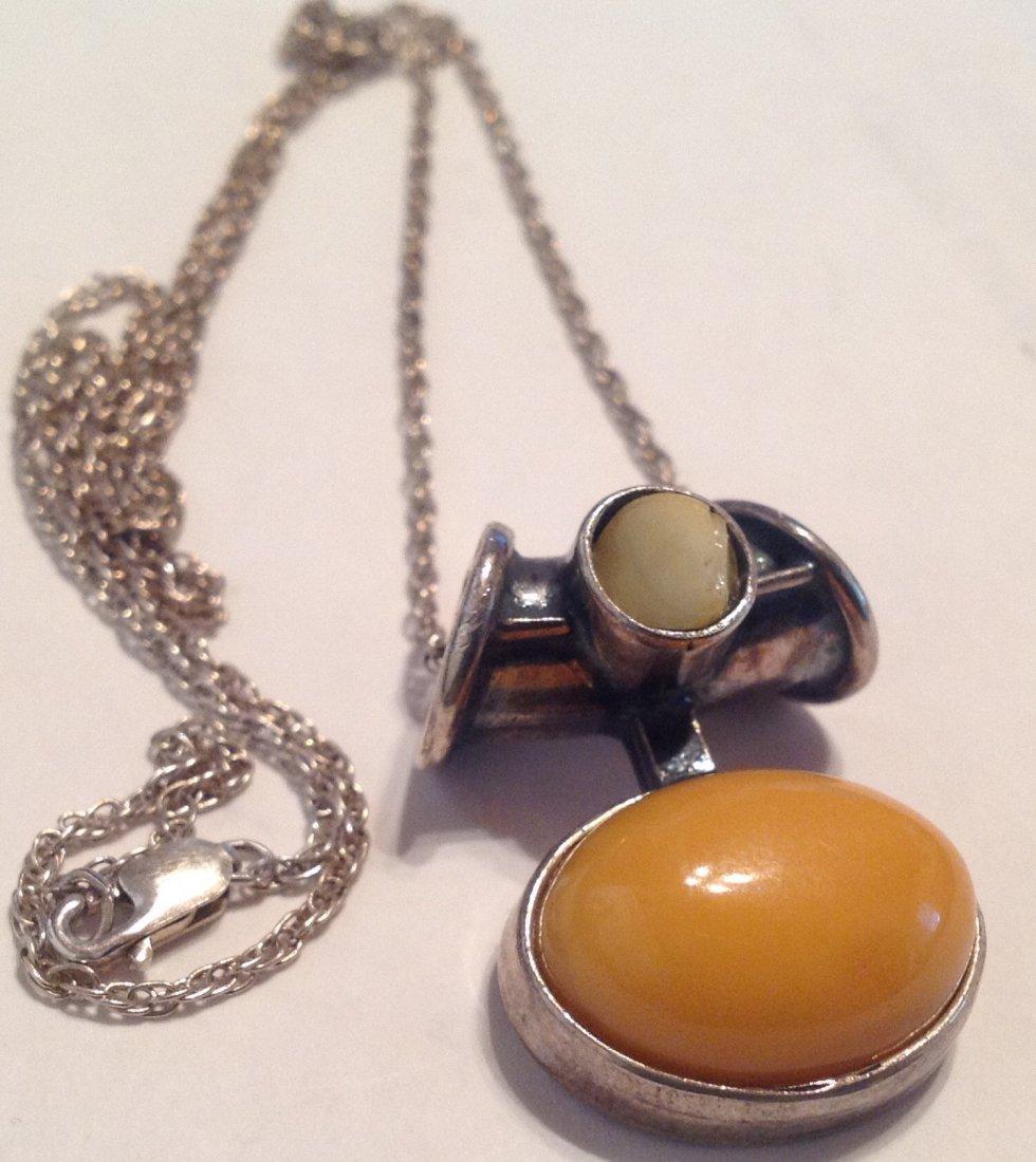 Estate Sterling gemstone slider pendant necklace  (S) - 2