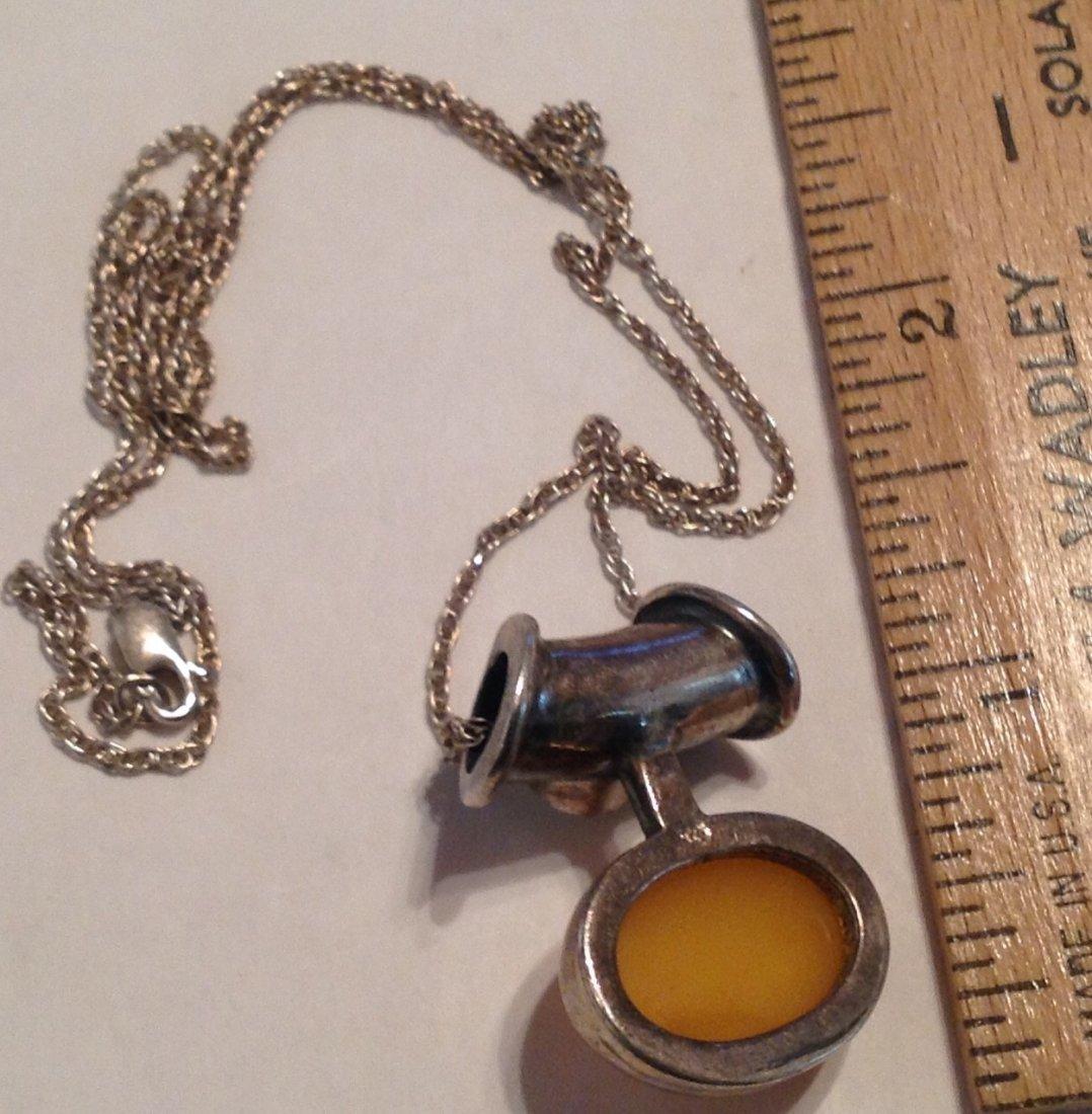 Estate Sterling gemstone slider pendant necklace  (S) - 3