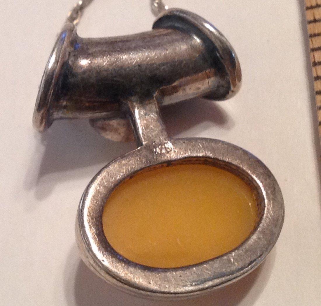 Estate Sterling gemstone slider pendant necklace  (S) - 4