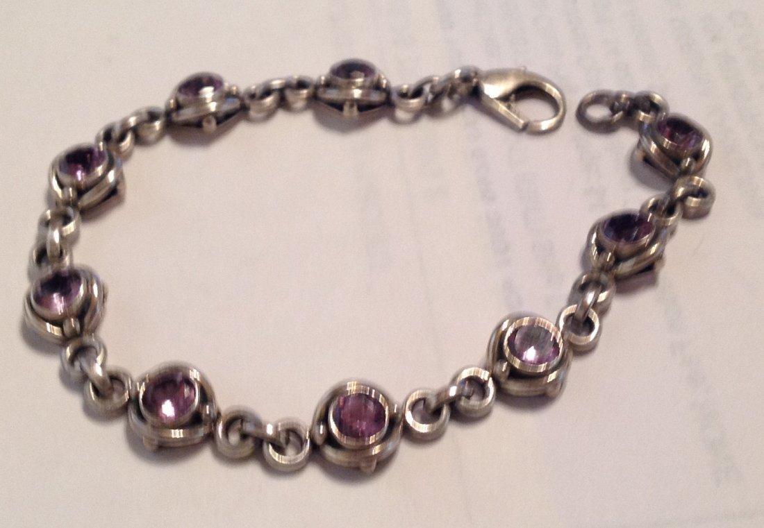 Estate Sterling silver amethyst link bracelet   (S)