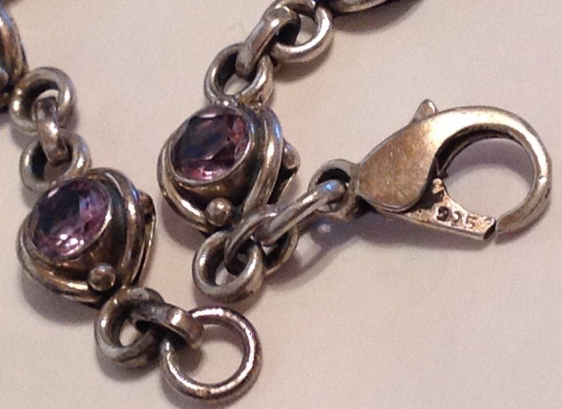 Estate Sterling silver amethyst link bracelet   (S) - 2