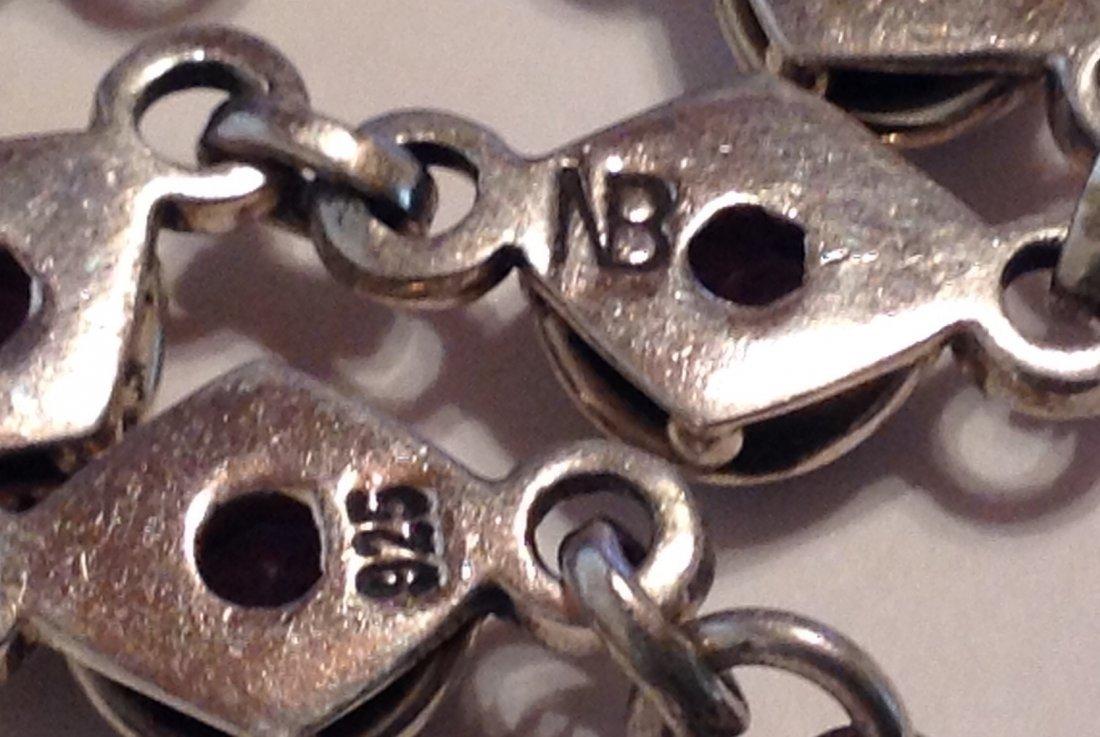 Estate Sterling silver amethyst link bracelet   (S) - 3