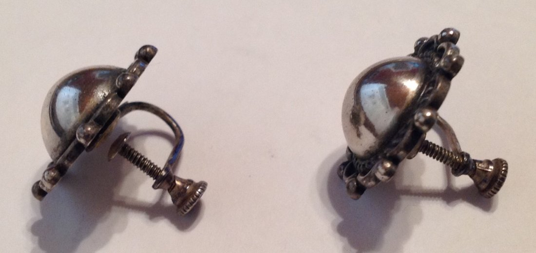 Estate Sterling silver dome button earrin   (S) - 2