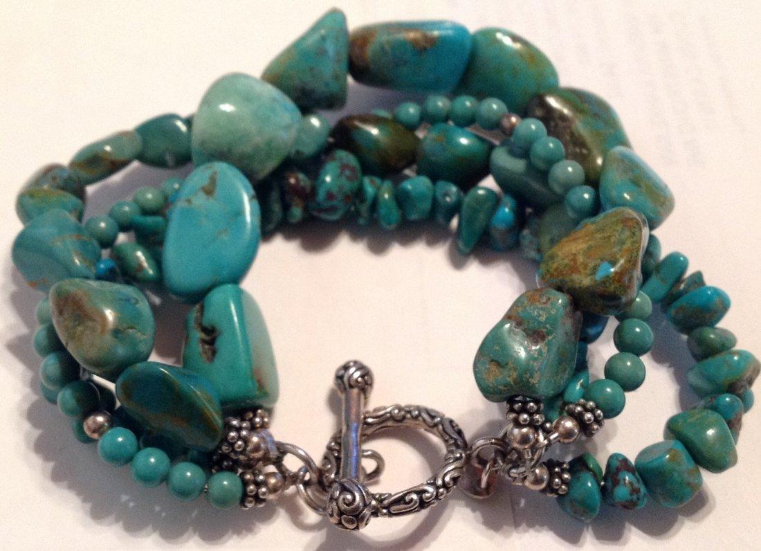 Estate Sterling 4 strand turquoise bracelet   (S)