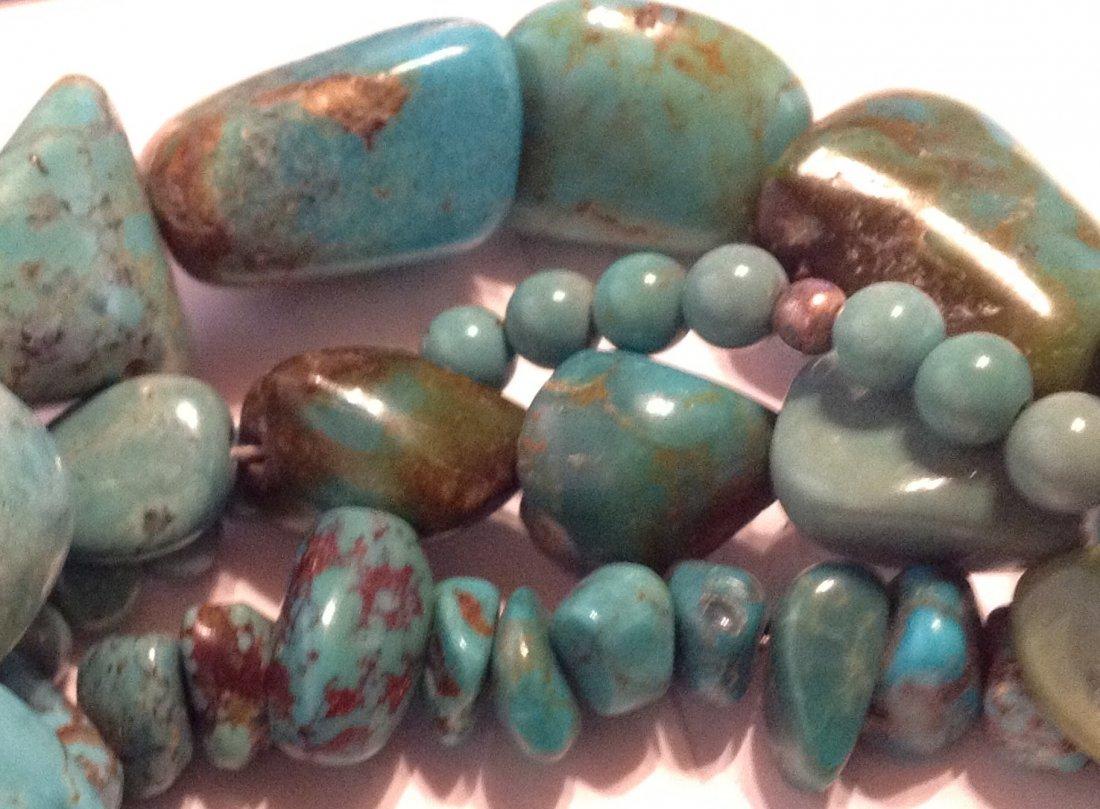 Estate Sterling 4 strand turquoise bracelet   (S) - 2