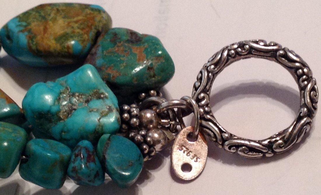 Estate Sterling 4 strand turquoise bracelet   (S) - 3