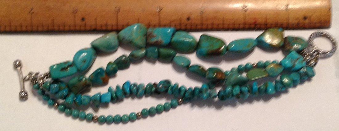 Estate Sterling 4 strand turquoise bracelet   (S) - 4