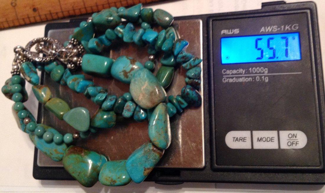 Estate Sterling 4 strand turquoise bracelet   (S) - 5