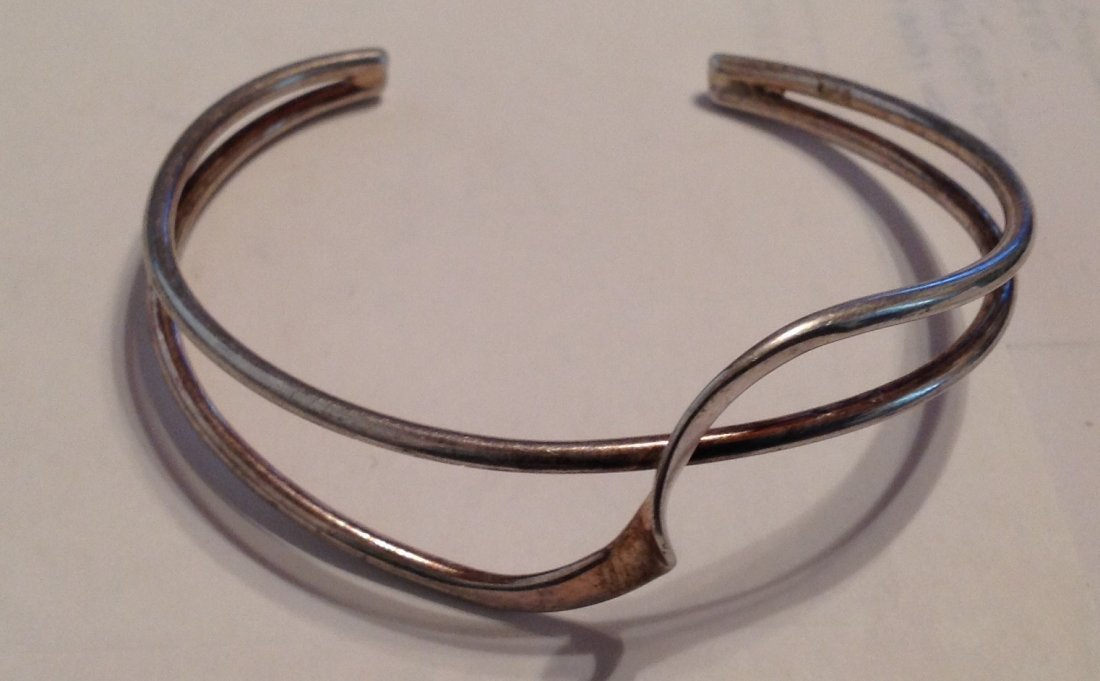 Estate Sterling Silver modernist cuff bracelet   (S)