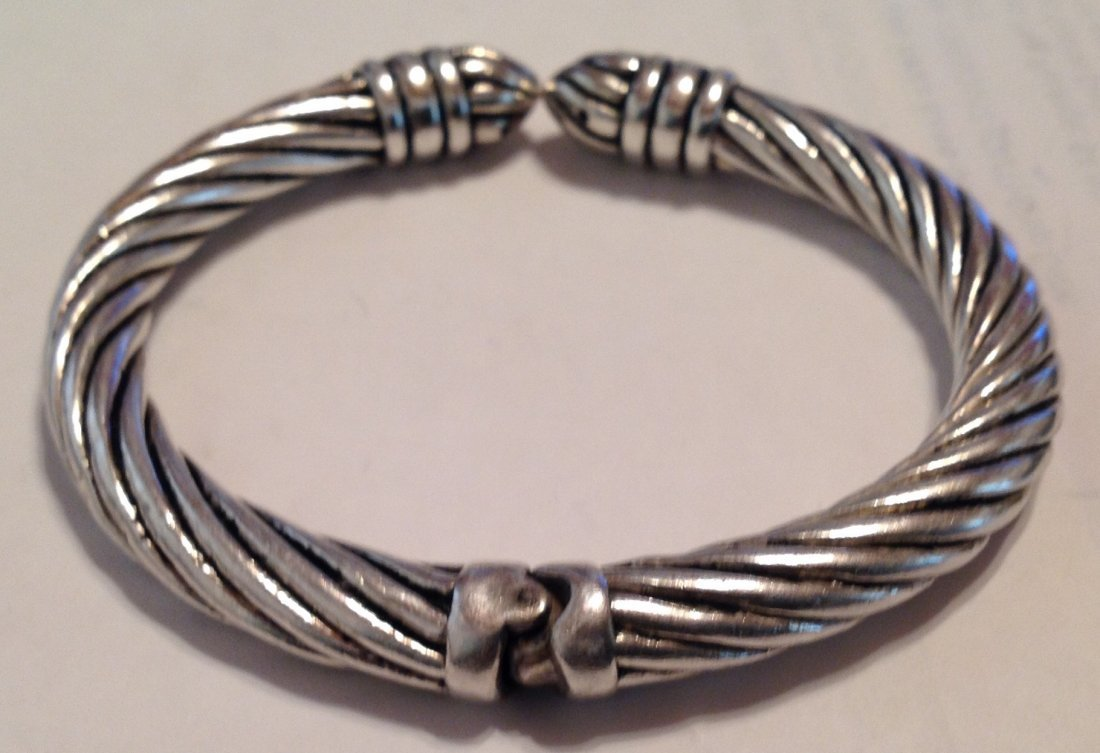 Estate Sterling Silver modernist hinged bracelet   (S) - 2