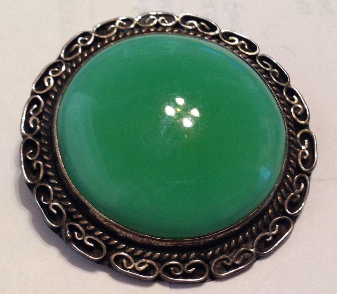 Estate Sterling Mexico Huge jade brooch pendant   (S)