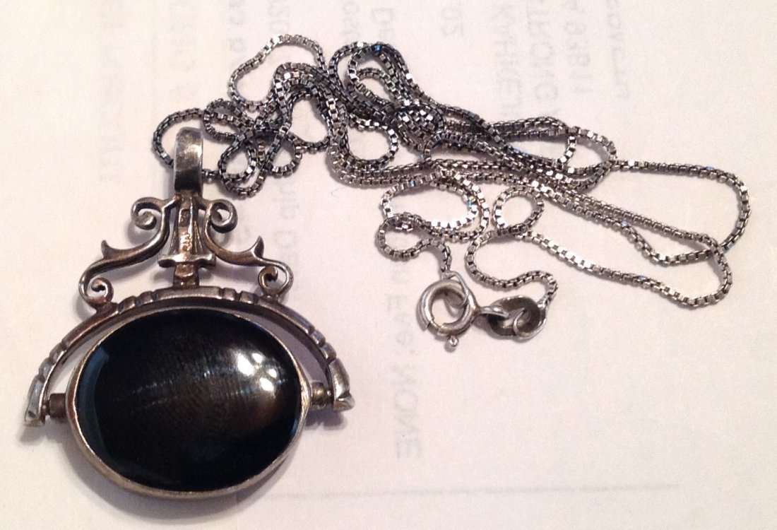 Estate Sterling onyx mop reversible pendant  (S)