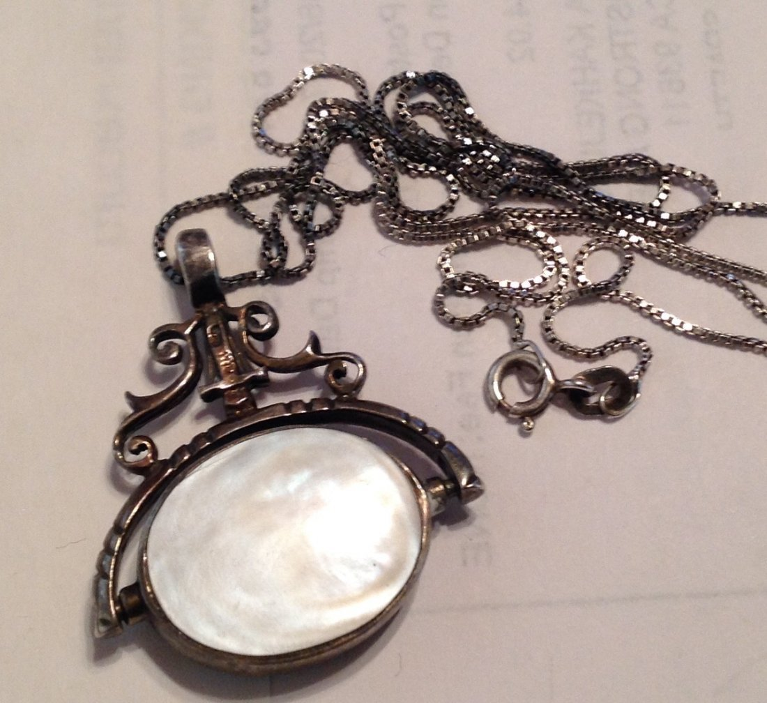 Estate Sterling onyx mop reversible pendant  (S) - 2