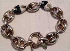 "Estate Sterling UTC figaro large link 8"" bracelet (S)"