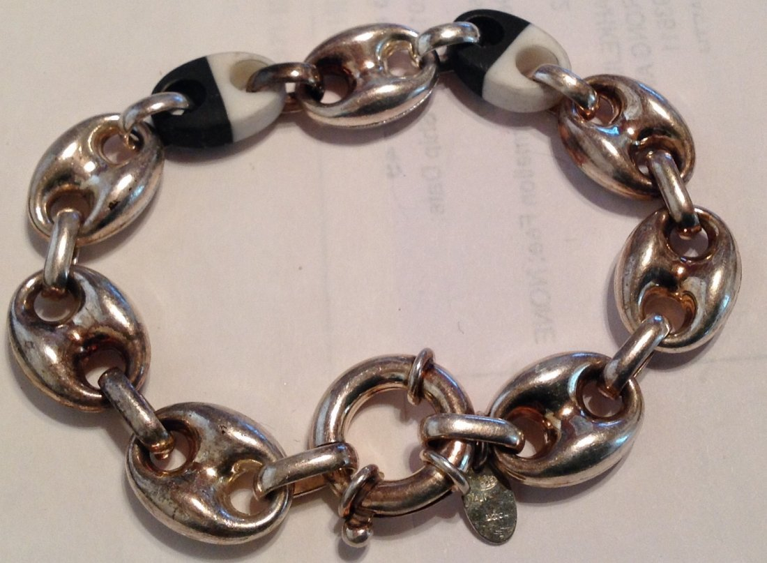 "Estate Sterling UTC figaro large link 8"" bracelet   (S)"