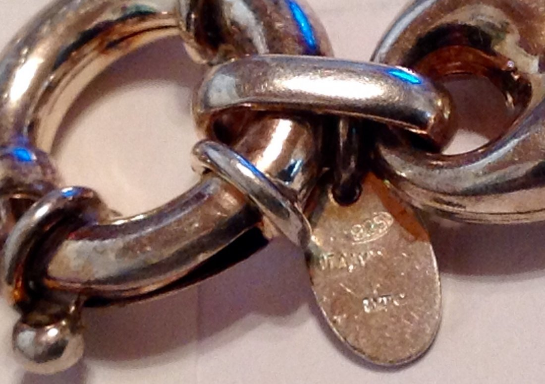 "Estate Sterling UTC figaro large link 8"" bracelet   (S) - 2"