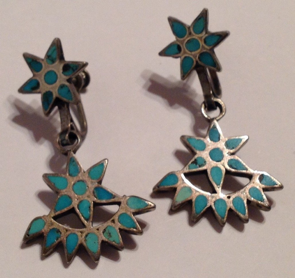 Estate VTG.Native Sterling turquoise inlay earrings (S)