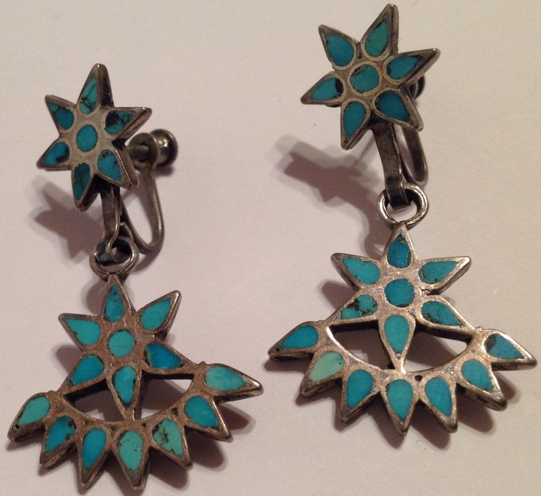 Estate VTG.Native Sterling turquoise inlay earrings (S) - 2