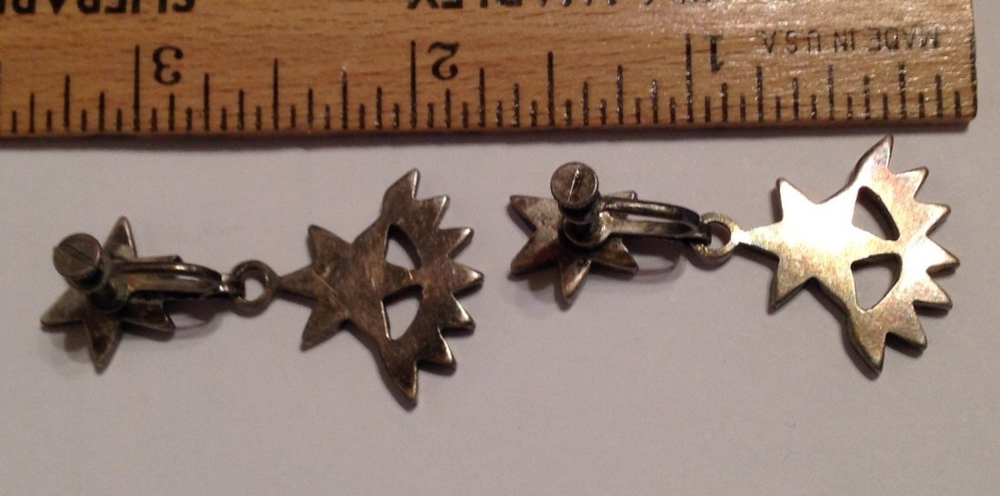 Estate VTG.Native Sterling turquoise inlay earrings (S) - 3