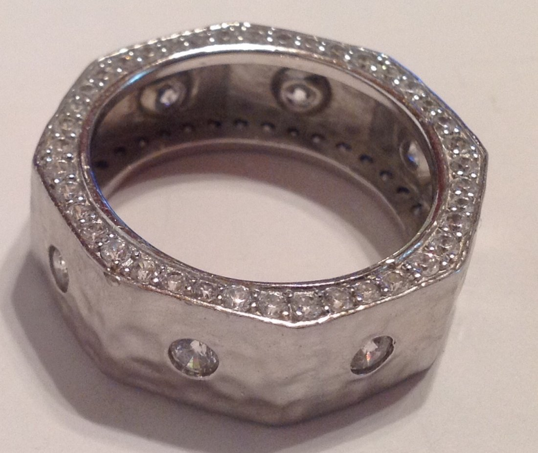 Estate VTG. Sterling CZ ladies ring (S)