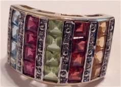 Estate 10k gold diamonds multi gemstones ring ( T )