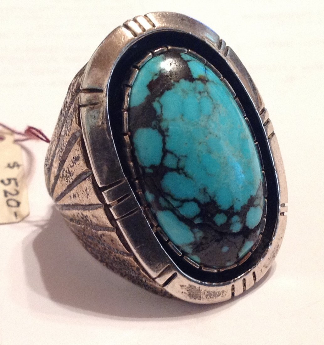 Estate Native American turquoise sterling ring ( T ) - 2