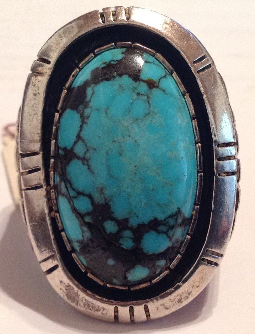 Estate Native American turquoise sterling ring ( T ) - 3