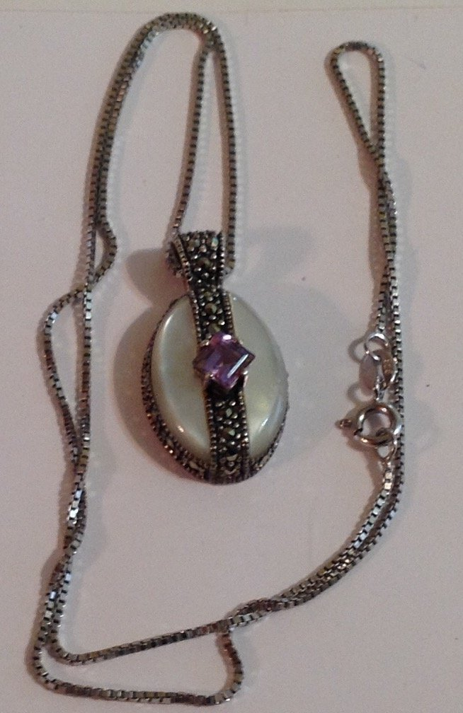 Vintage estate Sterling silver gemstone necklace (S)