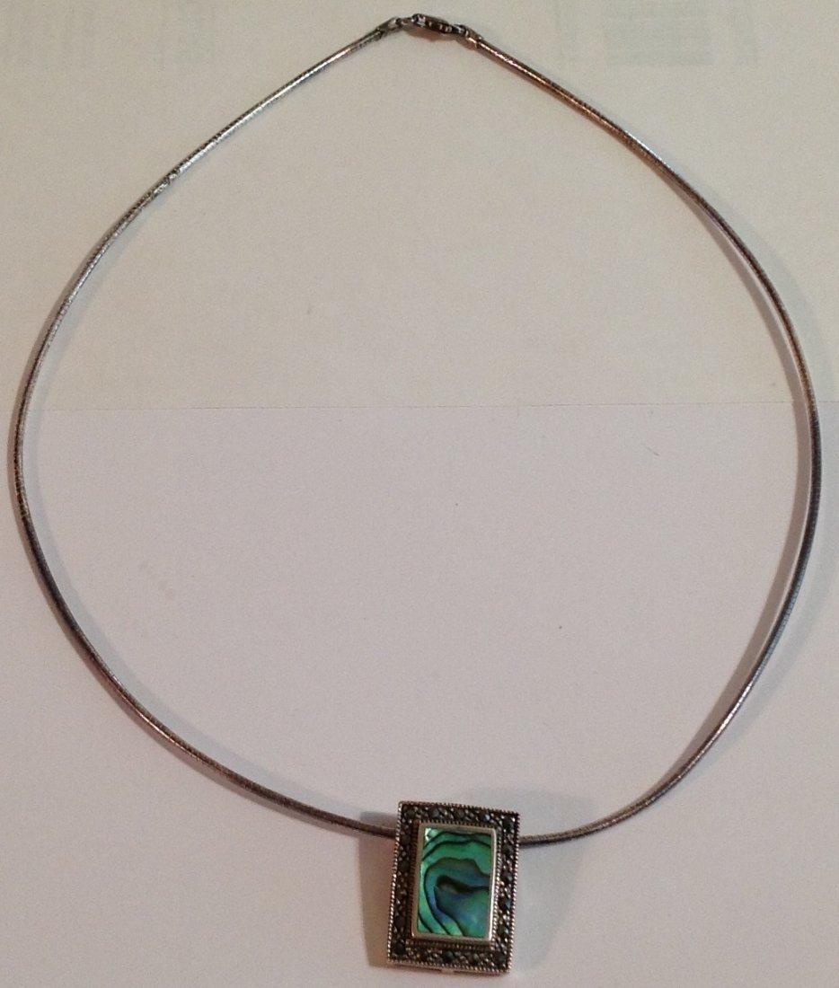 Vintage estate Sterling silver abalone  necklace (S) - 2