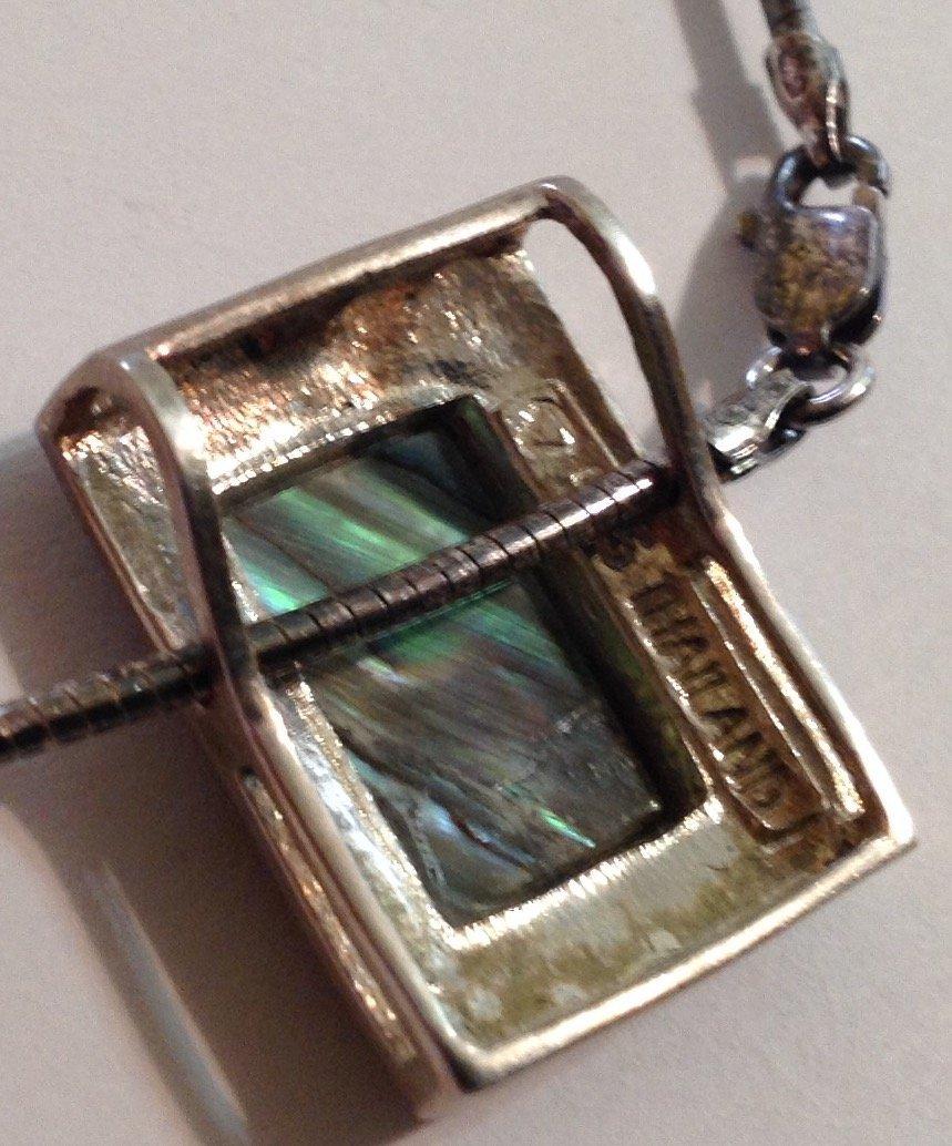 Vintage estate Sterling silver abalone  necklace (S) - 3