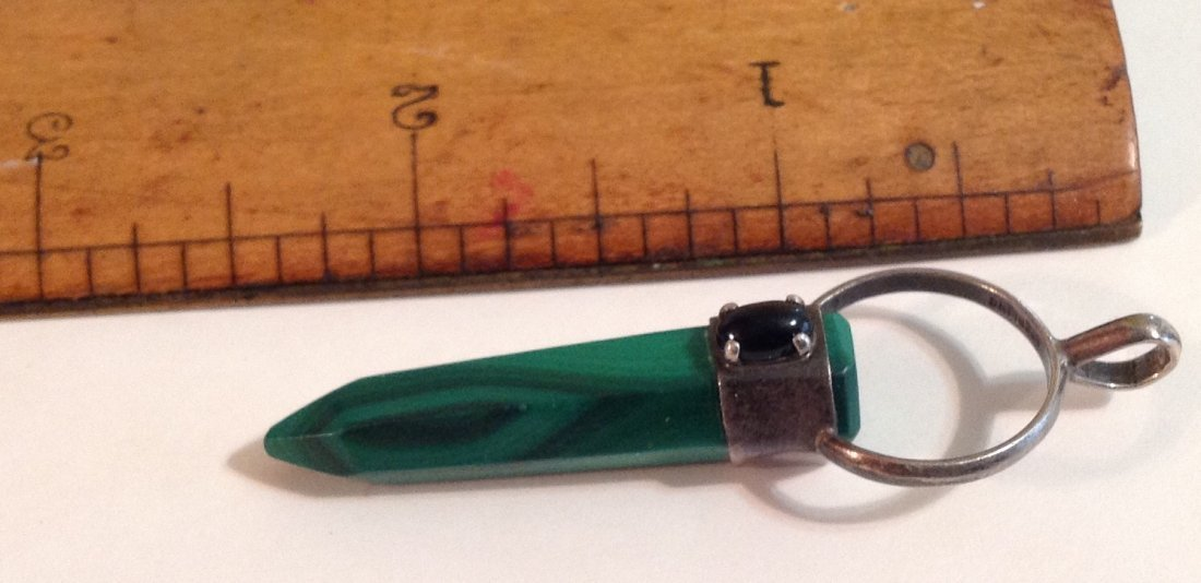 Vintage estate Sterling silver malachite pendant  (S) - 2