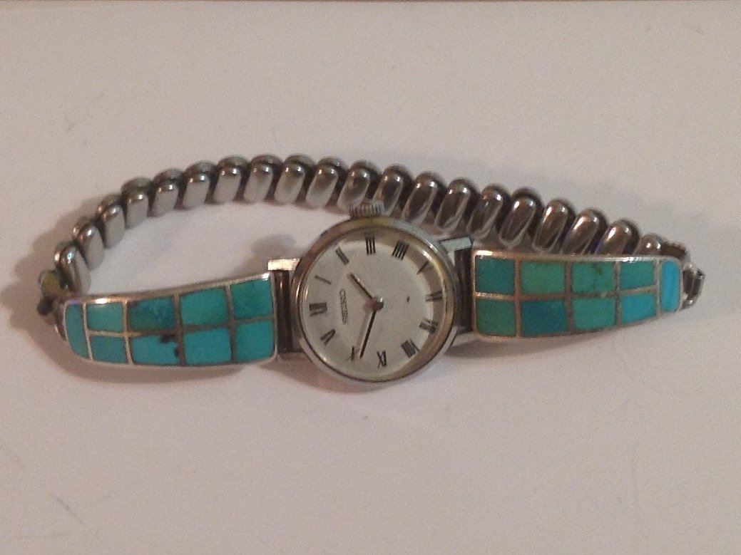 estate old pawn native silver timex turquoise inlay (S)