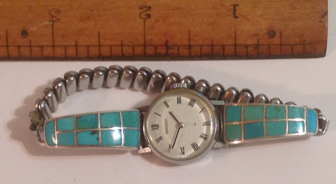 estate old pawn native silver timex turquoise inlay (S) - 2