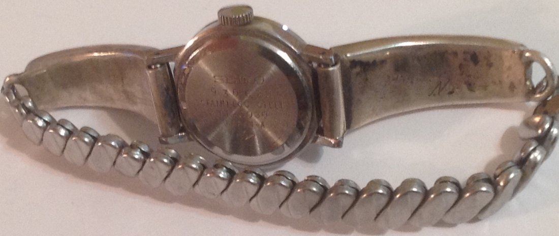 estate old pawn native silver timex turquoise inlay (S) - 3