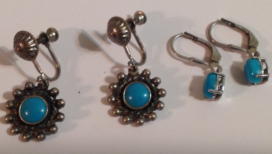 estate native American silver turquoise earrings (S)